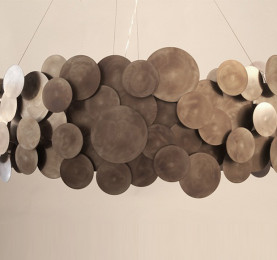 Burned Steel Disc Chandelier