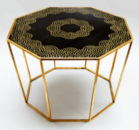 Hand Painted Gold Leaf Octagonal Table-min